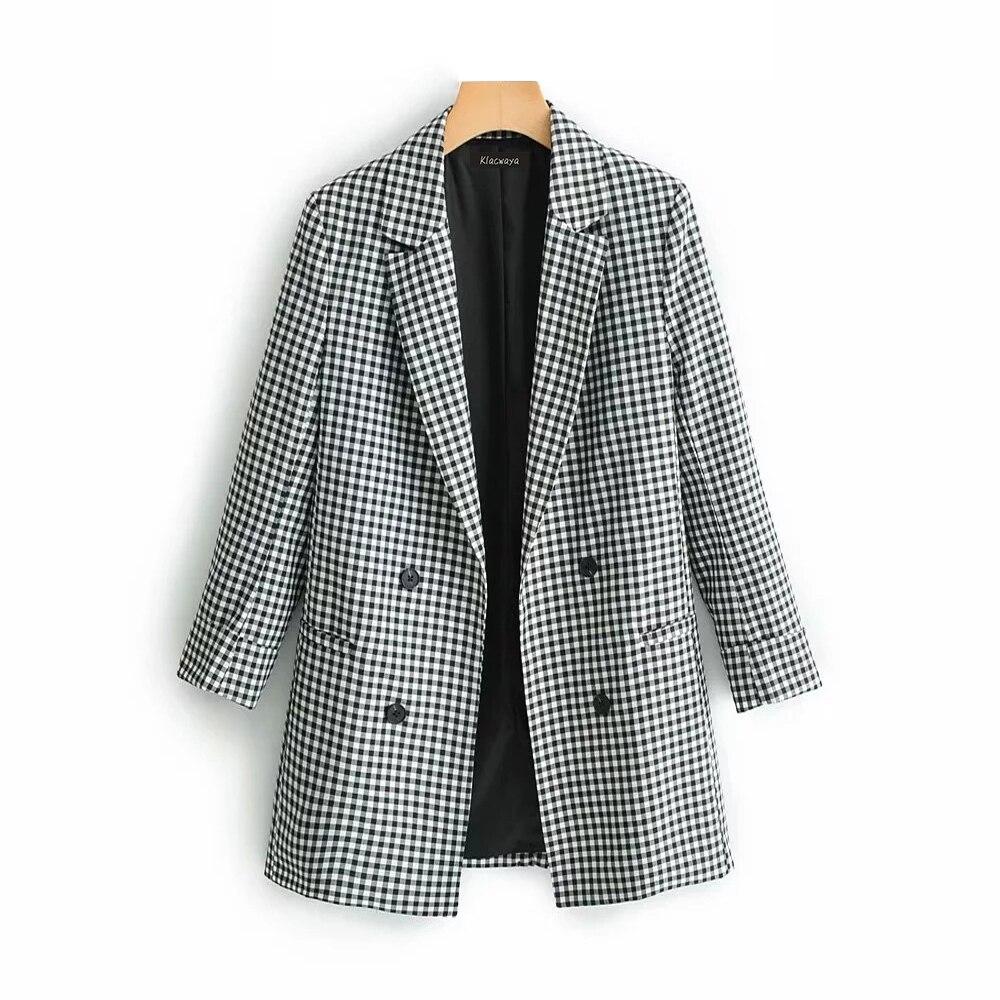 d91ad82c1 Cheap Klacwaya elegante mujer blazer traje 2019 Oficina señoras moda blazers  chaquetas con cuello entallado niñas