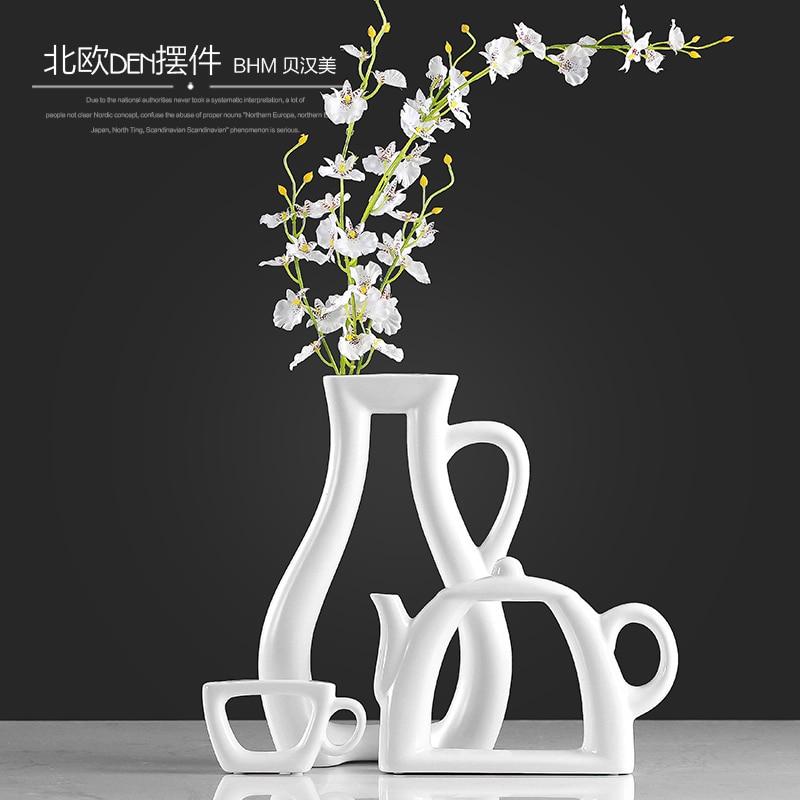 Nordic modern minimalist vase ornaments creative living room decoration ceramic crafts teapot flower vase