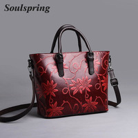 Embroidery Embossing Women Shoulder Bag High Quality Handbags Women Leather Luxury Crossbody Bags Designer Vintage Chinese Style
