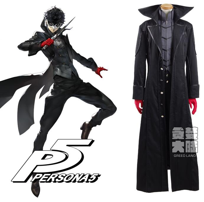 Persona 5 Leading Character Hero Male Outfit Black Jacket Shirt Pants Clothing Uniform Cosplay Costume With Red Gloves