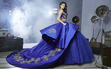 Blue Quinceanera Dress for 15 year girl Ball Gown Sweetheart Ruffled Chapel Train Quinceanera Gown custom made