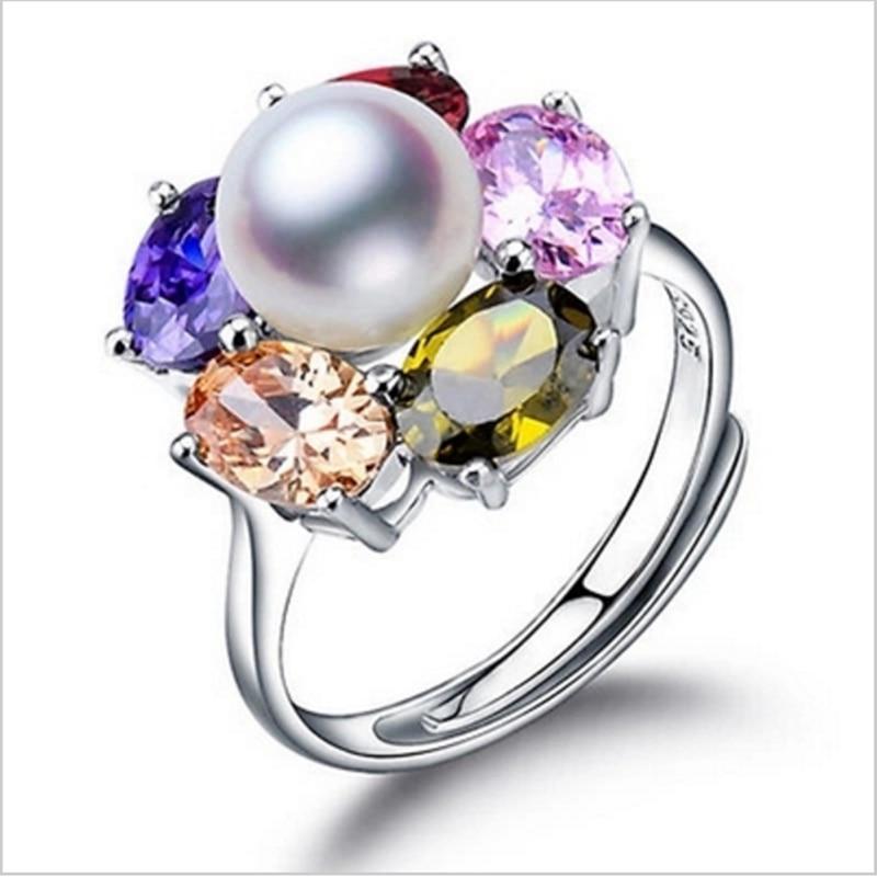2017 Módní Perlový Prsten Šperky Stříbrných Květin Prsten Sladkovodní Perly Snubní Prsteny 925 Sterling Silver Rings for Women