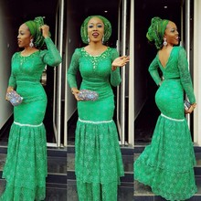 Custom Plus Size Green Mermaid Avondjurken Lange Mouwen Lace Crystal Nigeriaanse Prom Jassen Aso Ebi Vrouwen Formele Party Wear(China)