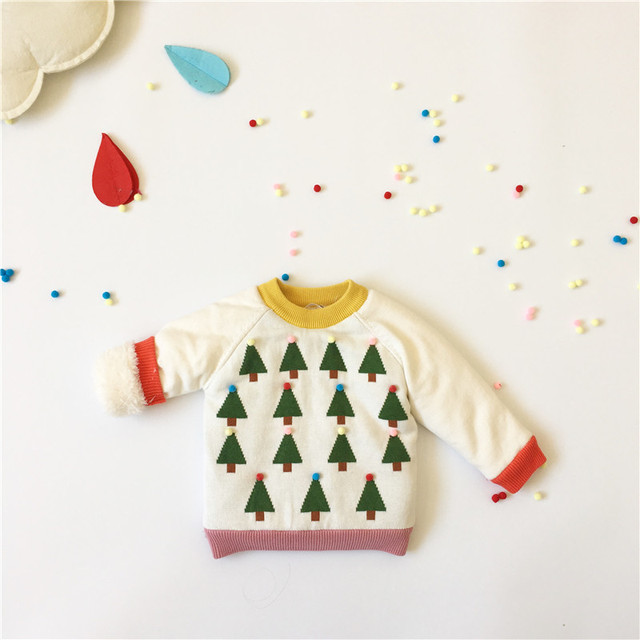 2016 autumn winter  kids new sweaters baby boy clothes baby girl clothes vestidos vetement kikikids christmas TREE SWEATERS BEBE