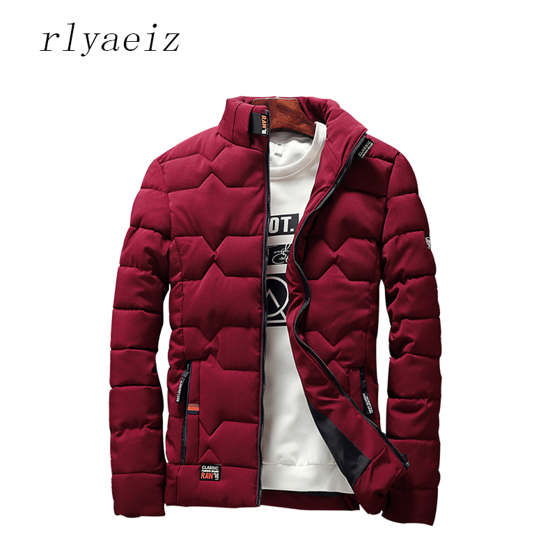 Rlyaeiz 2017 Mens Winter Jacket Warm Casual All-match Cotton Padded Solid Men Coat 5 Colors Plus Size 4XL Stand Collar   Parka   Men
