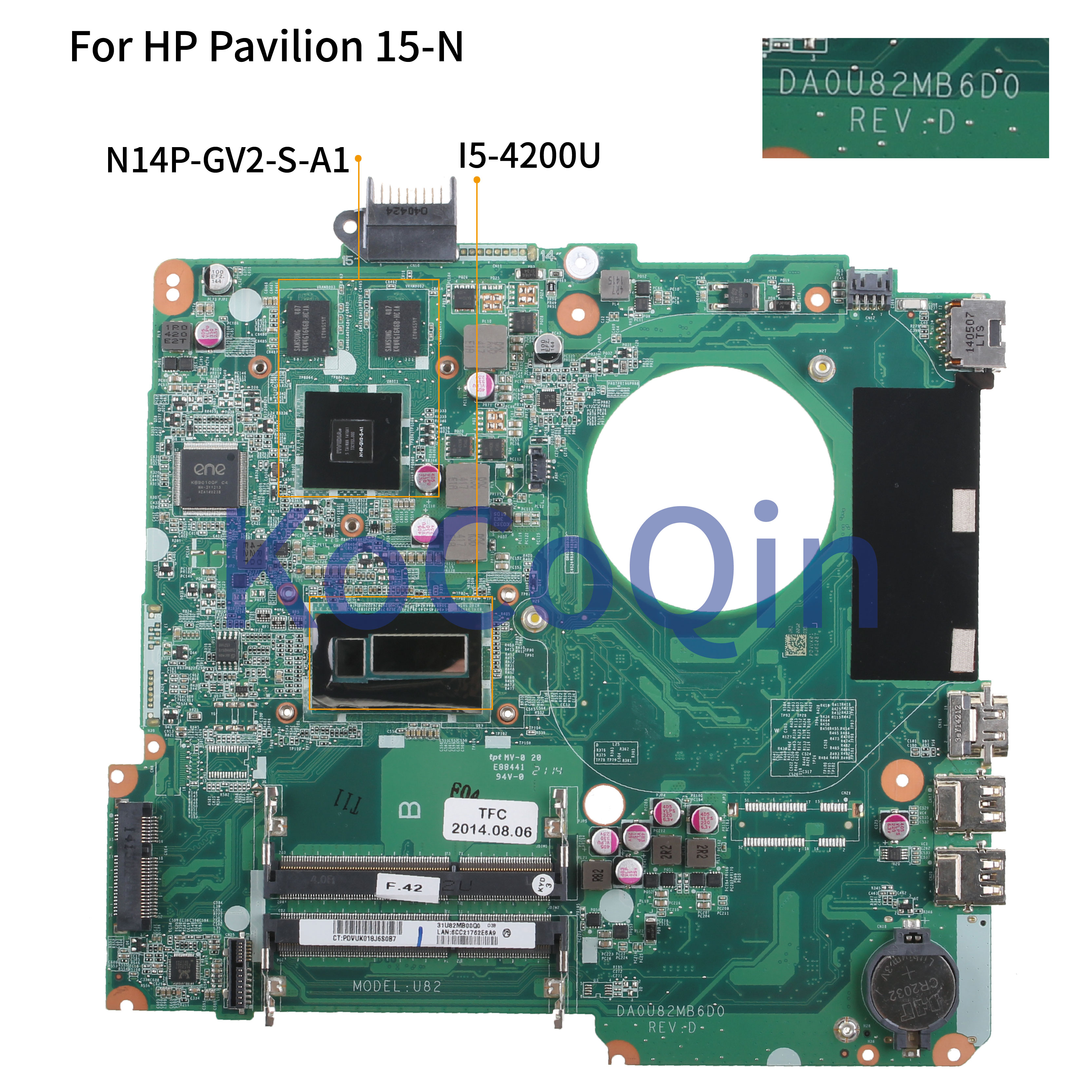 KoCoQin Laptop Motherboard For HP Pavilion 15-N 15-n005TX 15'6 Mainboard 736377-001 736377-501 DA0U82MB6D0 SR170 I5-4200U