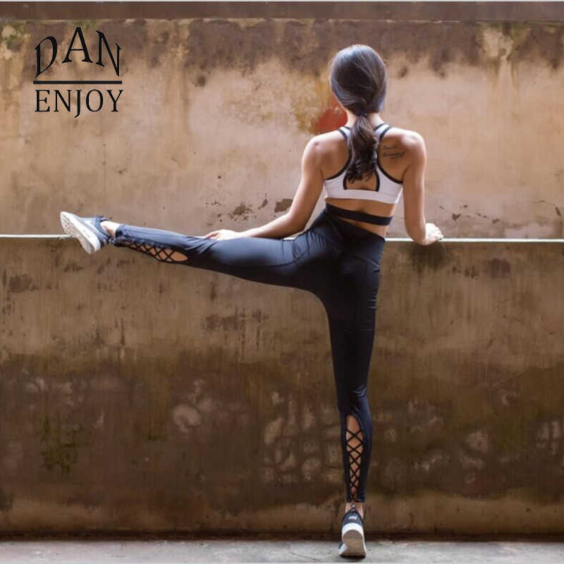 504affad3e DANENJOY Yoga Pants Women Sport Fitness Running Quick Dry Compression Cross  Tights Gym Leggings Elastic Trousers