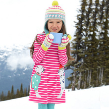 цены Free shipping New spring autumn children clothing cotton striped print with animals patch long-sleeved princess dress for girls