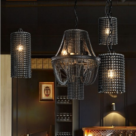 American Loft Style Heavy Chains Droplight Edison Industrial Vintage Pendant Light Fixtures For Dining Room Hanging Lamp edison loft style vintage light industrial retro pendant lamp light e27 iron restaurant bar counter hanging chandeliers lamp