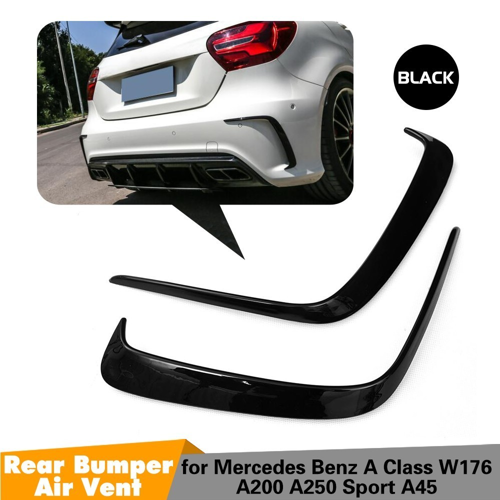 1Pair Car Black ABS Rear Bumper Splitter Spoilers Canard for Mercedes for Benz W176 A200 A250 A45 for AMG 2013-20161Pair Car Black ABS Rear Bumper Splitter Spoilers Canard for Mercedes for Benz W176 A200 A250 A45 for AMG 2013-2016