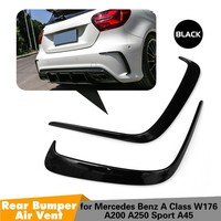 1Pair Car Black ABS Rear Bumper Splitter Spoilers Canard for Mercedes for Benz W176 A200 A250 A45 for AMG 2013 2016