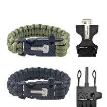 EDC Outdoor Survival Kits Lifesaving bracelet bangle Whistle Firemaker Magnesium Rod