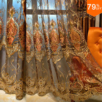 Luxury curtains tulle Cortina decoration curtain for living room drapes in living room villa Sheet tulle curtain Voile curtains