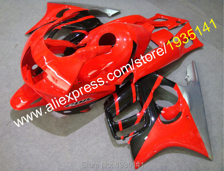 Hot Sales,For Honda CBR600 F3 1997 98 Red/Silver/Black Cowl CBR 600 F3 97 1998 CBR600F3 Motorbike Fairings (Injection molding)
