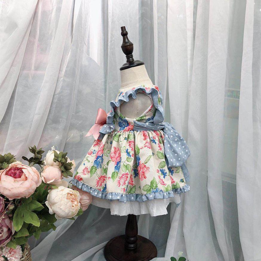 Bébé filles robe de princesse rétro Floral Lolita robe espagnole Boutique Vintage enfants robe fête d'anniversaire vêtements Vestidos Y1136 - 3