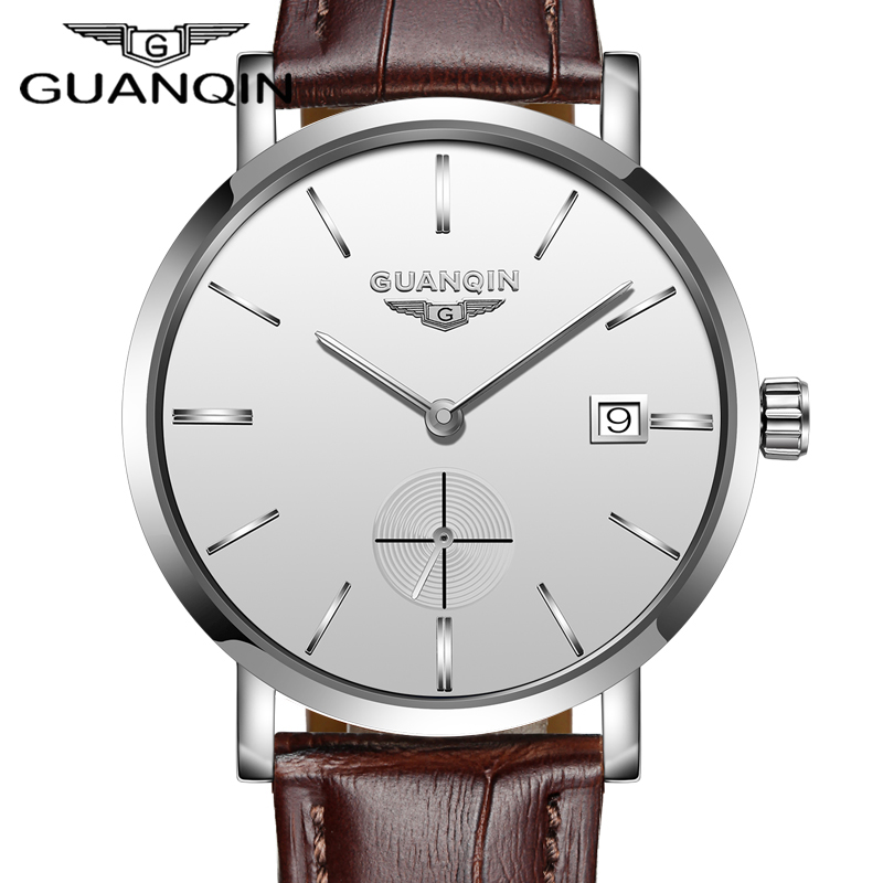 GUANQIN Top Luxury Mens Automatic Mechanical Watches Men Leather Strap Watch Male Fashion Casual Business Clock reloj hombre yazole watch men 2016 simple big dial fashion business mens watches leather strap quartz wristwatches male clock reloj hombre