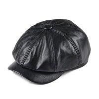 VOBOOM Genuine Black Leather Newsboy Cap Men Women Eight Panel Caps Octagonal Beret Pigskin Boina 115