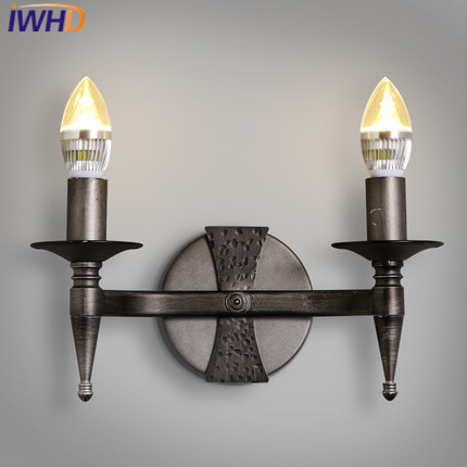 IWHD 2 Heads Iron Loft Industrial Rrtro Wall Lamp LED Iron Vintage Sconce Wall Light Fixture Stairway Lighting Candle Wandlamp white black wall lamp double heads e14 candle light metal crystal wall lamps european classic vintage wall lighting fixture