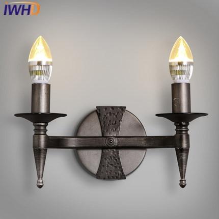 Здесь продается  IWHD 2 Heads Iron Loft Industrial Rrtro Wall Lamp LED Iron Vintage Sconce Wall Light Fixture Stairway Lighting Candle Wandlamp    Свет и освещение