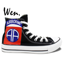 Wen Original Black Sneakers Hand Painted Shoes Design Custom 82nd Airborne Division High Top Men Women's Canvas Sneakers