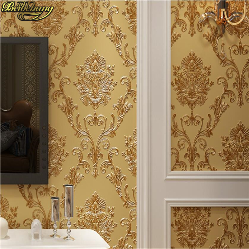 beibehang European classic Damascus 3d wallpaper carved pattern living room background wall papers home decor decoration home picture of mermaid pattern home appliances decoration 3d wall sticker