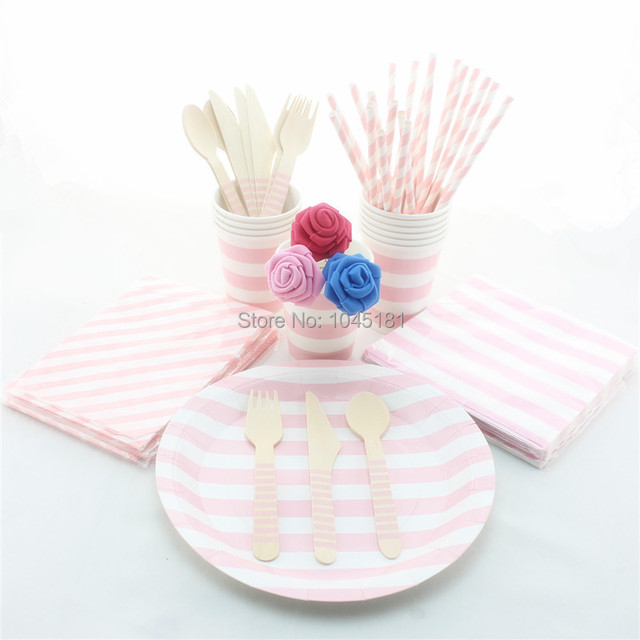 Free Shipping 780 pcs Disposable Tableware Pink Striped Design Party Paper PlatesNapkinsStraws  sc 1 st  AliExpress.com & Free Shipping 780 pcs Disposable Tableware Pink Striped Design Party ...