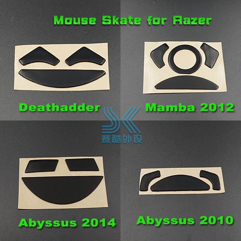 Teflon Mouse Skates Mouse Feet For Razer Deathladder 1800 3500DPI 2013 Mamba Chroma 2012 Abyssus2014 Mouse Replacement 0.6mm