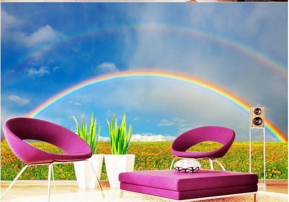 Us 16 2 55 Off Landscape Wallpaper Murals Rainbow Living Room Tv Backdrop Bedroom 3d Photo Wallpaper Home Decoration In Wallpapers From Home