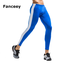 PRO Sports Men's Running Tight Quick Dry Compression Pants Stripes Sports Trousers Basketball Football Training Pants Leggings