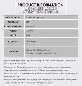 Image 5 - EUR 7K capacity 45807106 Toner Cartridge chip For OKI data B432 MB472dnw MB492dn MB472 MB492 472 MB 472dnw 492dn powder reset
