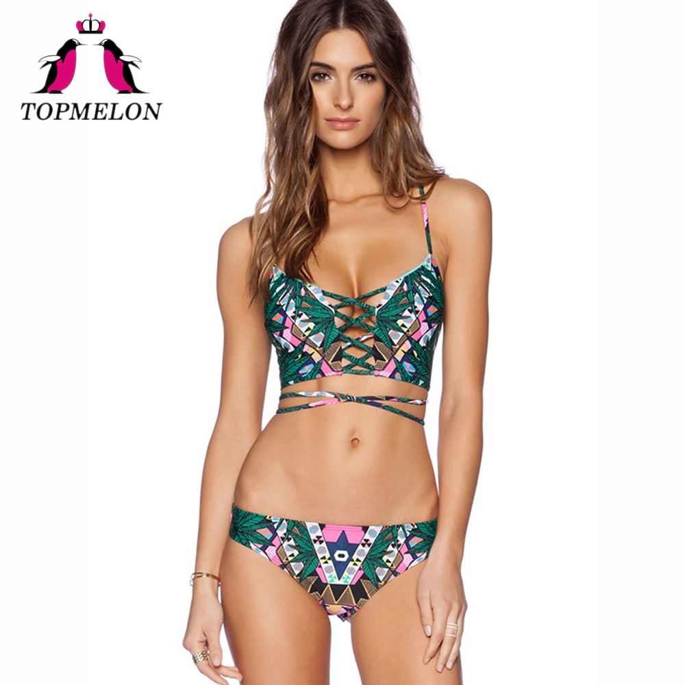 Topmelon Women Bikini Set Sexy Print Floral Lace-Up Bikini 2017 Cross Strap Green Sexy Low Waist Bikini Women Swimsuit Bikini