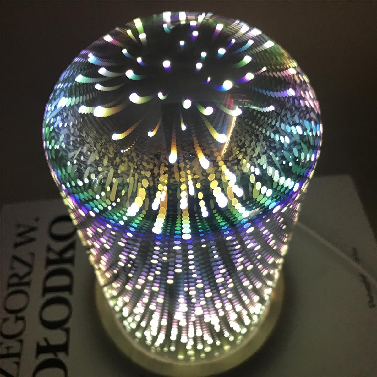 LED Glass Tree Flower Starburst Shaped Wooden Base Night Light USB Power Desk Table Book Lamp Cafe Bar Home Decor DC 5V