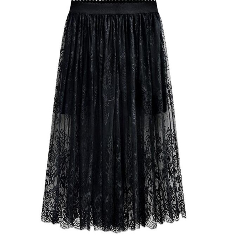 2019 New Spring Summer Women Fashion Long Lace Skirts,High Waist Black White Lace Skirts,plus Size Skirts 4XL 5XL 6xl