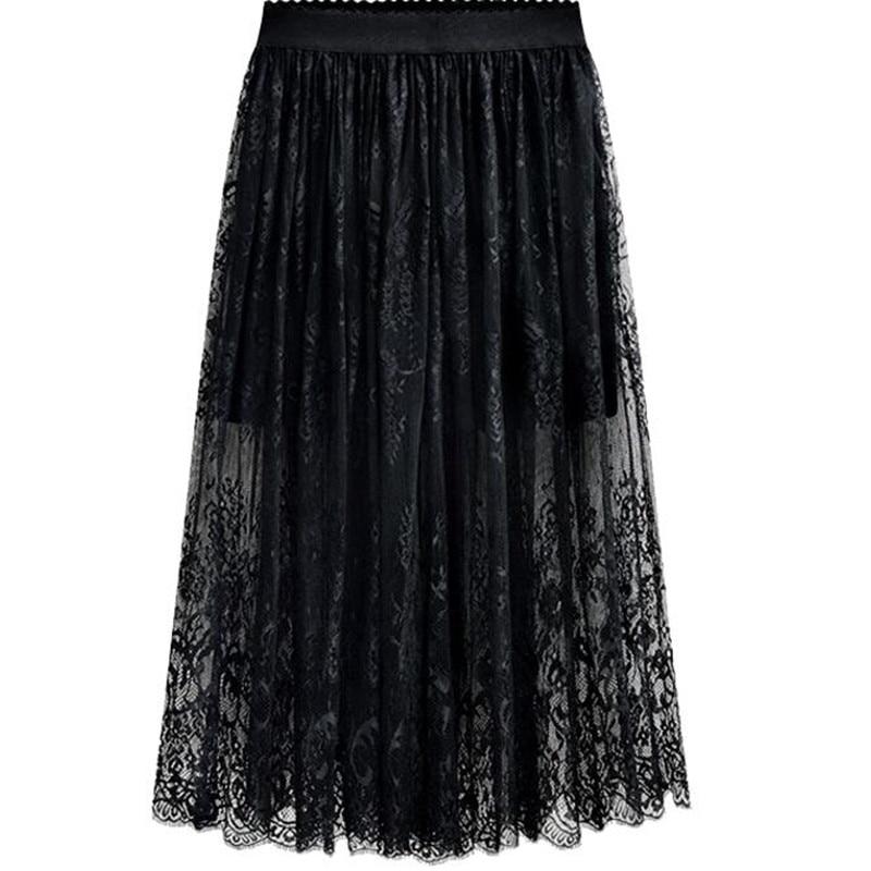 2019 New Spring Summer Women Fashion Long Lace Skirts,High Waist Black White Lace Skirts,plus Size Skirts 4XL 5XL 6xl