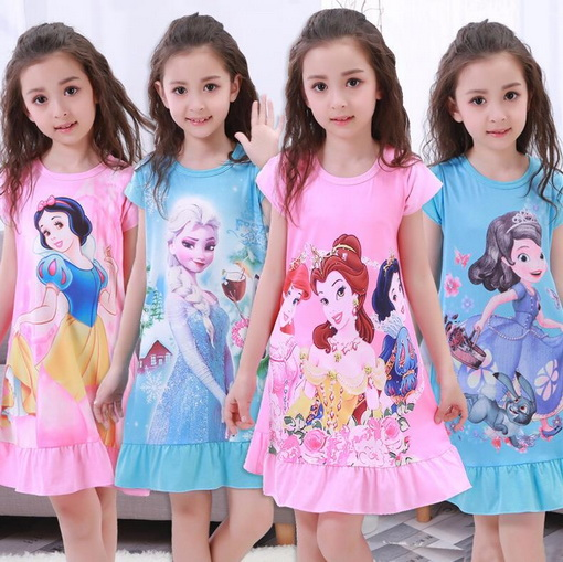 2-12Y Girls Nightgown Children Clothing Knitting Cotton Short Sleeved Pajamas Dress Cute Kids Homewear Nightdress Clothes YW369