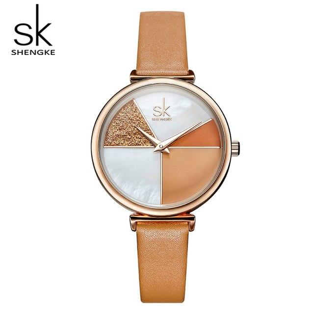 Creative Glitter shell Dial Women Ladies Leather Wrist Watch