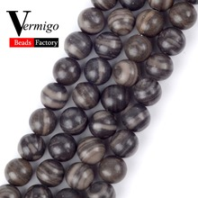 Natural Stone Beads Black Wood Jaspers Loose For Jewelry Making Minerals 6 8 10mm Diy Bracelet Necklace Jewellery 15inches