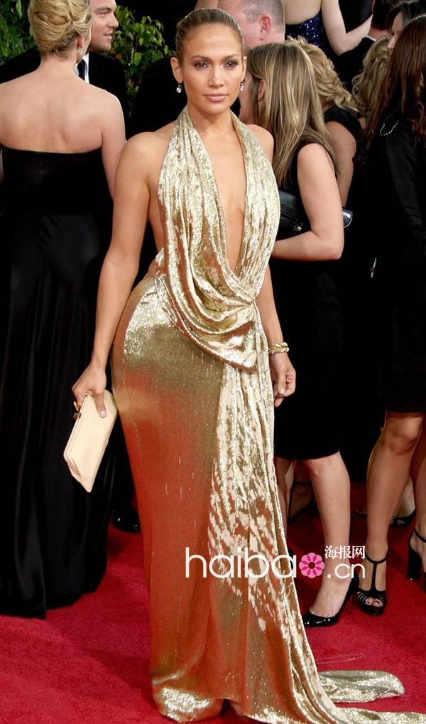 Jennifer Lopez Golg Secy Halter Sheath Long Floor Length Sparkle ...