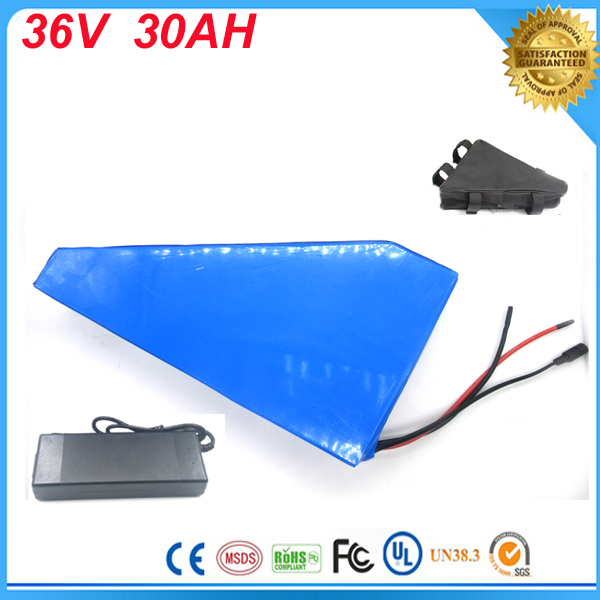 triangle style Electric Bike Lithium Ion Battery 36v 30ah  battery lithium 36v bike battery  with battery bag For Samsung cell