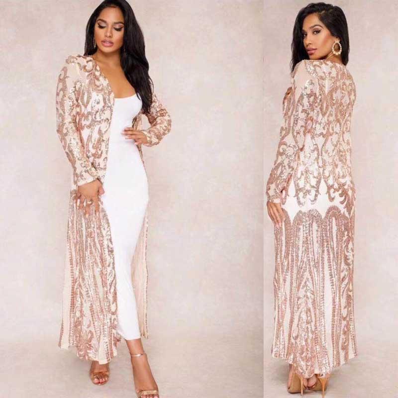 Wholesale 2019 New Dress Beige Long Sleeve Chiffon V Neck