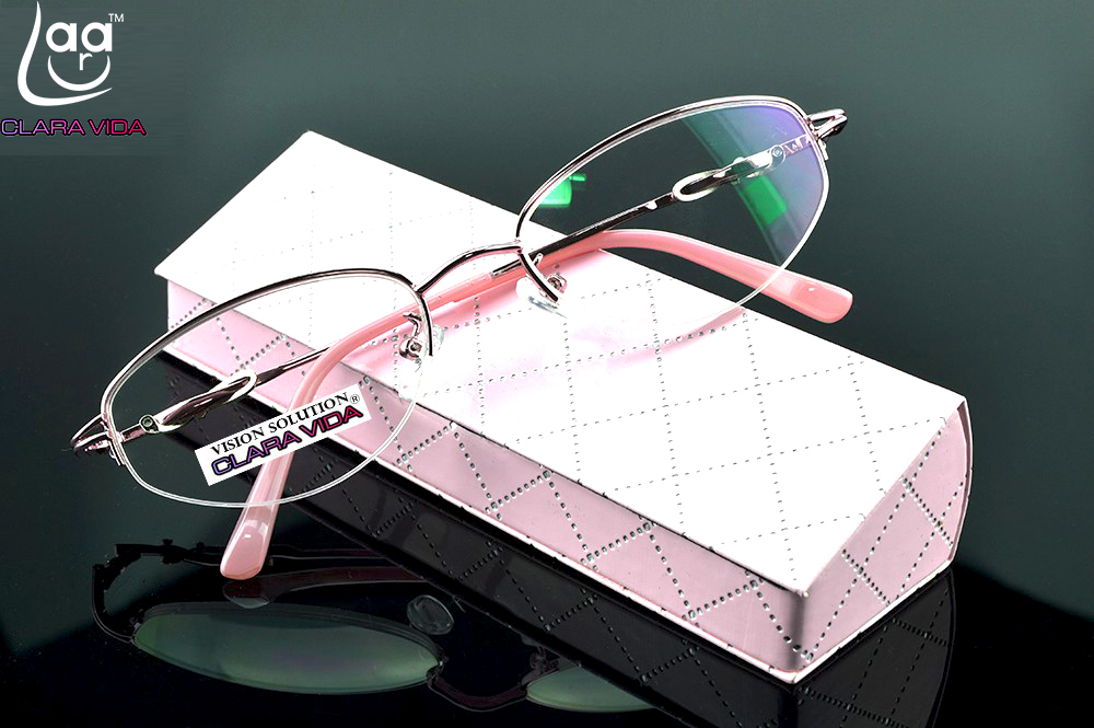 = CLARA VIDA = Design Half-rim Coated HD Lenses Fashion Pink Office Lady Reading Glasses +1 +1.5 +2 +2.5 +3 +3.5 +4 With Case