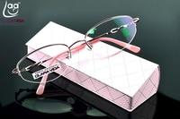 = CLARA VIDA = Design Half-rim Coated HD Lenses Fashion Pink Office Lady Reading Glasses +1 +1.5 +2 +2.5 +3 +3.5 +4 With Case