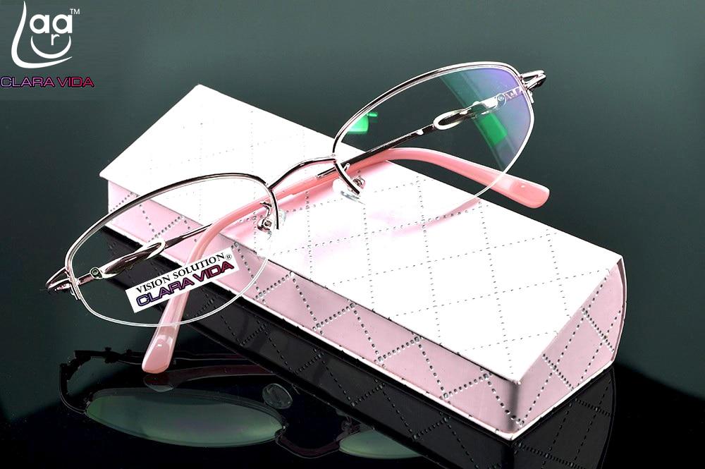 3,5 4 Mit Fall 1,5 1 2,5 Ordentlich = Clara Vida = Design Halbrand Beschichtet Hd Linsen Mode Rosa Büro Dame Lesebrille 2 3
