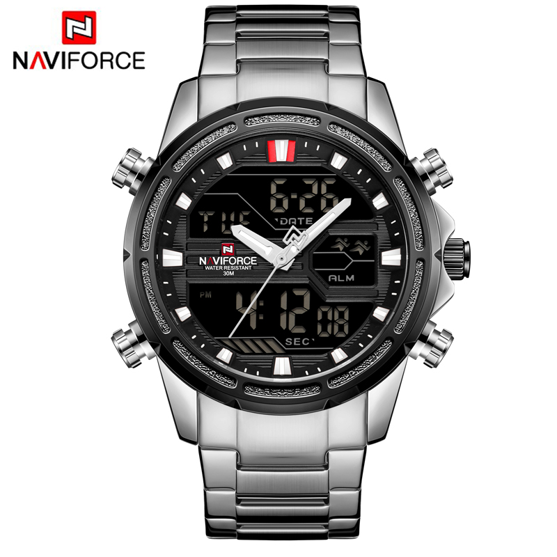 NAVIFORCE Top Brand Men Military Sport Watches Mens LED Analog Digital Watch Male Army Stainless Quartz Clock Relogio Masculino naviforce men watch digital analog sport mens watches top brand luxury military stainless steel led quartz male clock box 9093