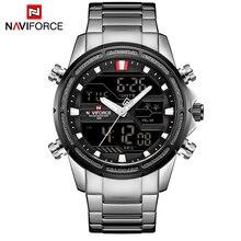 NAVIFORCE Лидирующий бренд для мужчин Военная Униформа Спорт часы светодио дный s светодиодный Аналоговый цифровые часы Мужской армии нержавеющи…