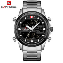 NAVIFORCE Top Brand Men Military Sport Watches Mens LED Analog Digital Watch Male Army Stainless Quartz Clock Relogio Masculino(China)