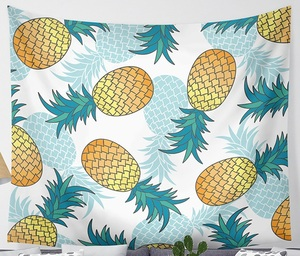 Image 4 - CAMMITEVER Waves Pineapple Fruit Tapestry Polyester Curtains Plus Table Cover Wall Hanging Tapestry Decor