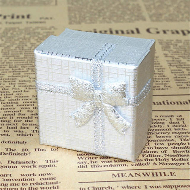 Online Shop Jewelry Gift Box 443cm Ring Boxes Square Carton Silver