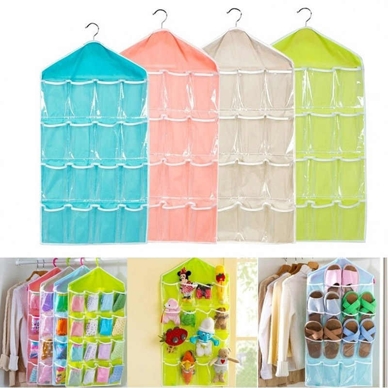 16Pockets Clear Hanging Storage Bag Socks Bra Underwear Rack Hanger Storage Organizer Home Hanging tool Storage Bag