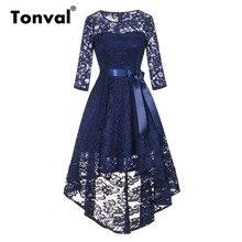 Tonval בציר כחול כהה תחרה חלוק שמלת נשים 2/3 שרוול גבוהה נמוך Hem אלגנטי שמלות המפלגה Midi סתיו שמלה